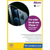iPhone 12 Offer - Pre-order the all new iPhone 12 with ComBank Credit Cards at Abans