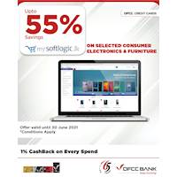 Enjoy up to 55% savings on selected products at www.mysoftlogic.lk with DFCC Credit Cards!