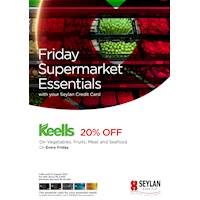 Save 20% at Keells on Vegetables, Fruits, Meat & Seafood Every Friday with your Seylan Credit Card
