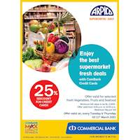 Enjoy 25% Discount for Combank Credit Cards at Arpico SuperCentre