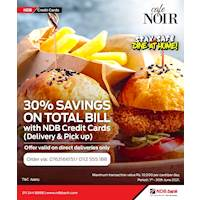 30% Savings on Total Bill at Cafe Noir for NDB Credit Cards