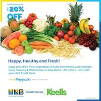 20% off on fresh vegetables and fruits from Keells supermarkets every Tuesday and Wednesday for HNB Credit Card