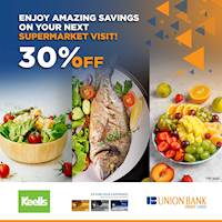 Enjoy 30% off on fresh fruits, vegetables & seafood when you shop with your Union Bank credit card at Keells Supermarkets