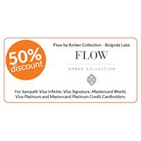 50% discount on double and triple cabin bookings on full board stays at Flow by Amber Collection, Bolgoda Lake for Sampath Bank Cards