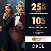 Shop at ODEL and Get 25% off on your People's Bank Credit card and 10% off on Debit cards