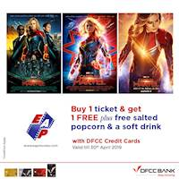 Buy 1 ticket and get 1 free with free drink and popcorn at EAP Movies for DFCC Credit Cards