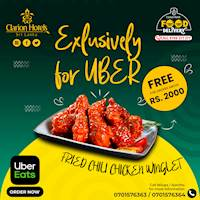 Get a Free Fried Chili Chicken Winglet portion with every order above Rs. 2000 placed via UberEats from Hotel Clarion