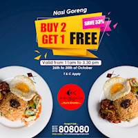 Buy 2 Nasi Goreng & Get 1 Free (Save 33%) at Chinese Dragon Cafe!