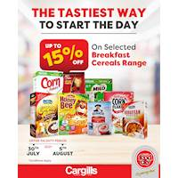 Get up to 15% OFF on Selected breakfast Cereal Range at Cargills FoodCity