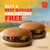 Buy a Beef Burger and get another for absolutely FREE at McDonalds