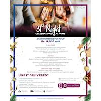 Sharing menus for 4 for 31st-night dinner parties at home from Rs. 14,500 net at Hilton Colombo Residence