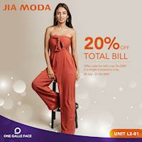 Get 20% off total bills worth Rs. 2,000 at JIA MODA Exclusively for One Galle Face Rewards Members only
