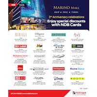 Enjoy fabulous discounts from NDB Cards as Marino Mall celebrates its 3rd anniversary!