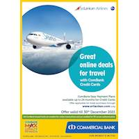 Enjoy Easy Payment Plans (EPP) available up to 24 for ComBank Credit Cards at Sri lankan Airlines