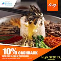 Enjoy a 10% Cashback on the first Rs. 2,000 of your total bill at Wan-Ge-Di-Ya via FriMi valid till the 30th November 2019.