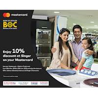Enjoy 10 % discount at Singer with BOC Mastercard