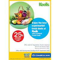 Up to 25 % Discount for Commercial bank credit cards on Every Sunday for vegetables, fruits and sea food at Keells