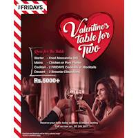 Enjoy a Valentine's table for two at TGI