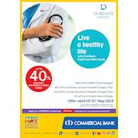 Up to 40% Off at Durdans Hospital with Commercial Bank cardholders