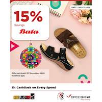 Enjoy 15% savings at Bata on DFCC credit and debit cards.