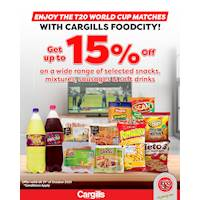 Get up to 15% Off on a wide range of selected Snacks, Mixtures, Sausages & Soft Drinks at Cargills FoodCity