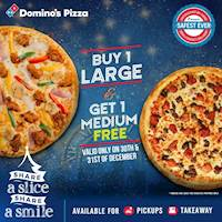 Buy 1 Large Pizza and get 1 Medium Pizza FREE from Domino's!