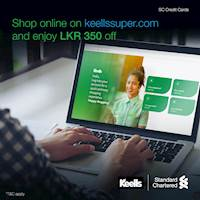 Enjoy LKR 350 off on your total bill when you shop online at Keells with Standard Chartered Credit Card