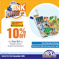 10% Off on Total Bill at Arpico Supercentre for People's Bank Credit Cardholders
