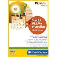 Special PickMe promotion with ComBank Credit and Debit Cards.