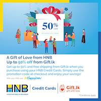 Enjoy Discounts Up to 50% off with your HNB Credit Card from gift.lk!