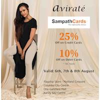 SAVE 25% with your Sampath Credit Card & 10% with your Sampath Debit Card at Avirate