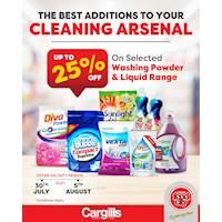 Get up to 25% OFF on Selected washing Powder and Liquid range at Cargills Food City