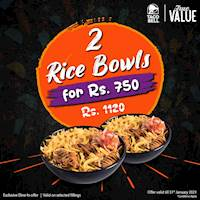 Get 2 Rice Bowls for just Rs. 750 from Taco Bell