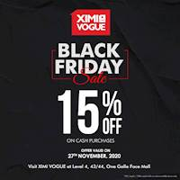 Black Friday Sale - 15% Off on Cash Purchases at Ximi Vogue One Galle Face Mall