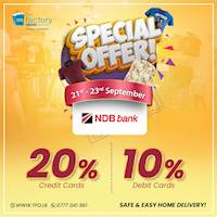 Shop at www.tfo.lk to enjoy exclusive discounts of 20% on NDB Credit Cards and 10% on NDB Debit Cards!