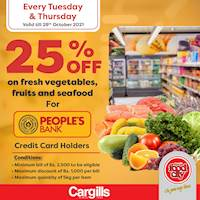 25% OFF on fresh fruits, vegetables and seafood at Cargills FoodCity for People's Bank credit card