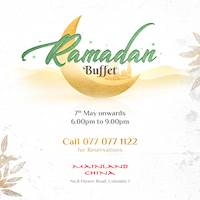 Experience the Iftar dinner buffet at Mainland China and indulge in an array of Ramadan delicacies for Rs. 1,999 nett