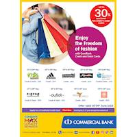 Up to 30% off with Commercial Bank Cards at Fashion Outlets.