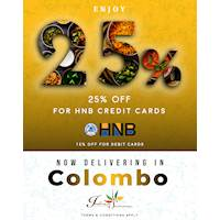 Enjoy up to 25% Off for your HNB Credit and debit cards at Indian Summer LK
