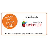 Buy One and Get One Free ticket on all Movie tickets at www.tickets.lk exclusively for all Sampath Mastercard and Visa Credit Cardholders.