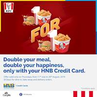 Treat yourself to a delicious 8 Pc Hot & Crispy Chicken Bucket, Zinger Burger Meal or 20 Pc Hot drumlets and get another absolutely free, all with the swipe of your HNB Credit Card!!
