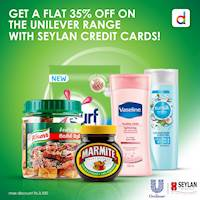 Enjoy a flat 35% off for all your daily essentials, on the Unilever range with your Seylan Credit cards at daraz.lk
