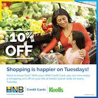 10% Discount for bills above LKR 3,500 at Keells Outlets with your HNB Credit Card!