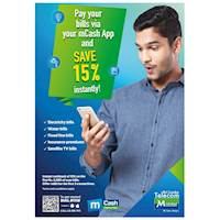 Pay your Bills via mCash App and Save 15% Instantly