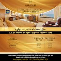 Celebrate the Aurudu Season for 20% off on your second night- Superior room or suite at Galadari Hotel
