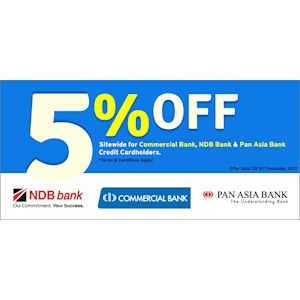 5% Off for Commercial, NDB and Pan Asia Bank Cardholders at Wasi.lk