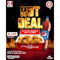Buy a 20Pcs Hot Drumlet and a 1.5L Pepsi for only Rs. 1,500 at KFC