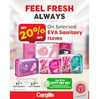 20% OFF on selected EVA Sanitary Items at all Cargills FoodCity outlets