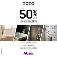 Clearance Up To 50% off on TOTO Sanitary ware, Fittings, and Accessories only at Abans Elite Nawala Showroom.
