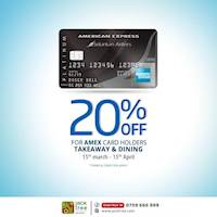 Enjoy 20% off on dining, takeaway & delivery when using your American Express Cards at Jack tree